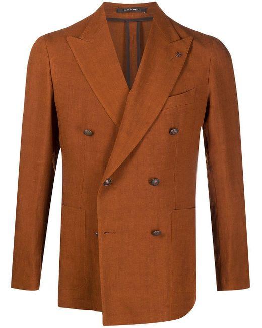 Tagliatore Brown Double-breasted Linen Blazer for men