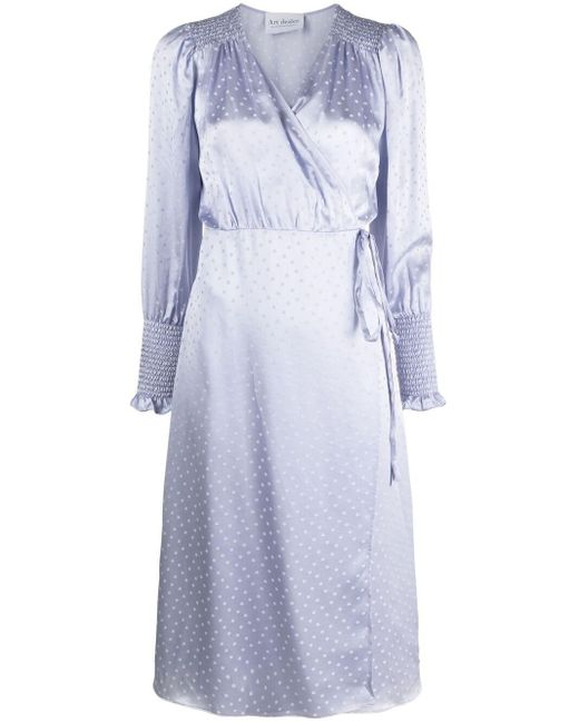 Art Dealer Purple Polka-dot Silk Wrap Dress