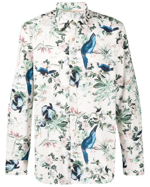 Tintoria Mattei 954 White Floral-print Cotton Shirt for men