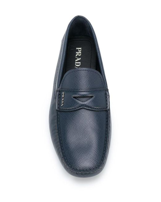 Prada Leather Textured Loafers in Blue