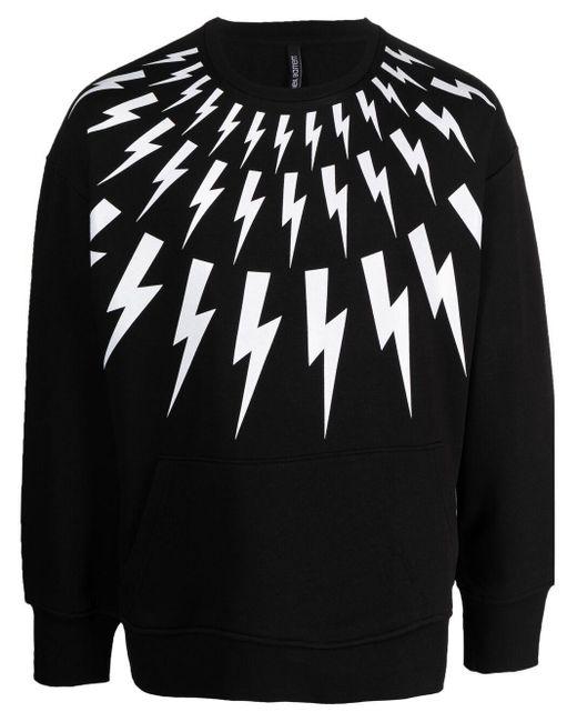 Neil Barrett Black Thunderbolt Print Sweatshirt for men