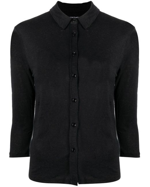 Majestic Filatures Black Button-down Fitted Top
