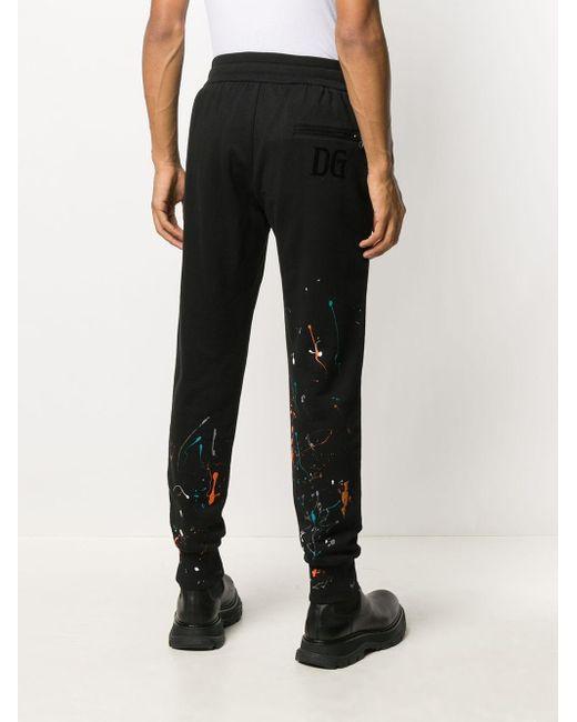 Dolce & Gabbana Black Paint Splatter Track Pants for men