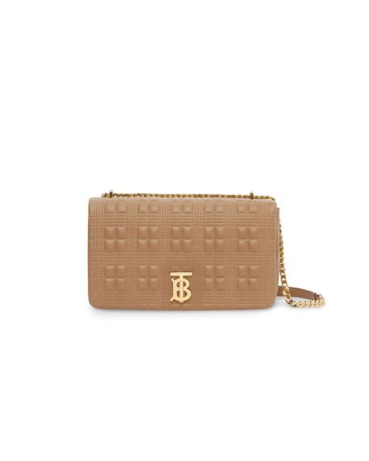 Burberry Natural Medium Quilted Check Lambskin Lola Bag