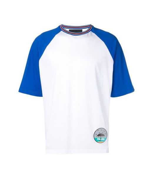 Prada White Loose-fit Patch T-shirt for men