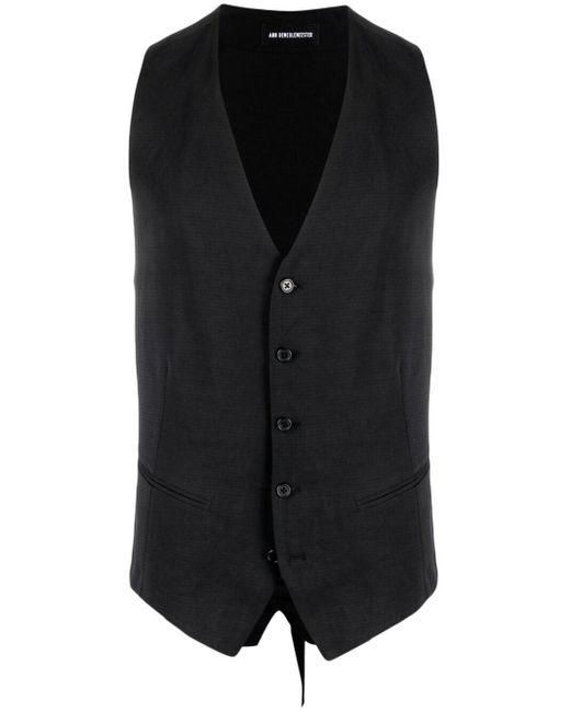 Ann Demeulemeester Black Single-breasted Cotton Waistcoat for men