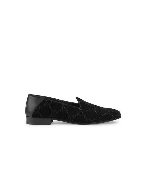 57abafa63af Gucci - Black GG Velvet Loafers for Men - Lyst ...