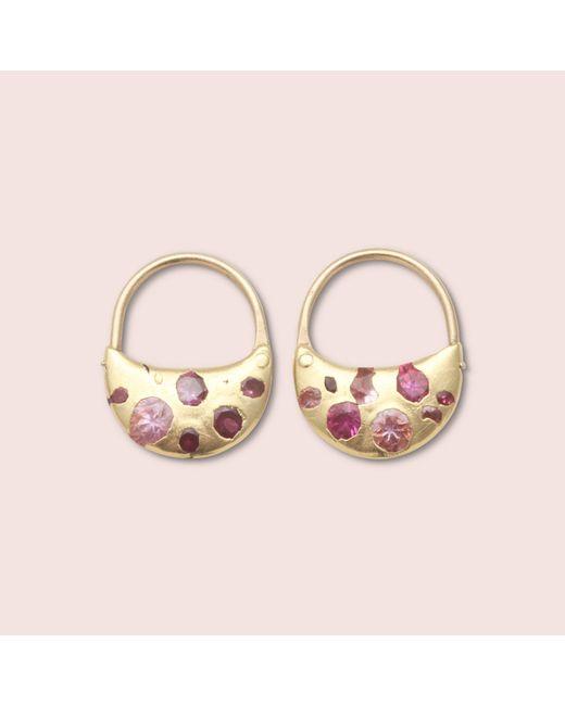 Erica Weiner - Pink Sapphire Crescent Hoops - Lyst