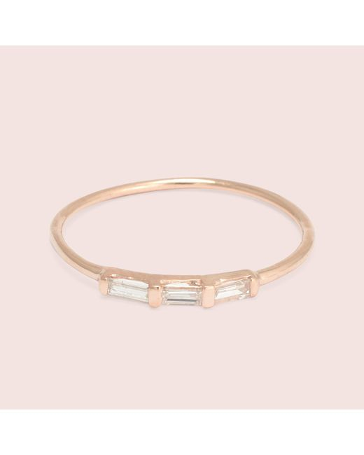 Erica Weiner - Metallic Past/present/future Diamond Baguette Ring (rose Gold) - Lyst