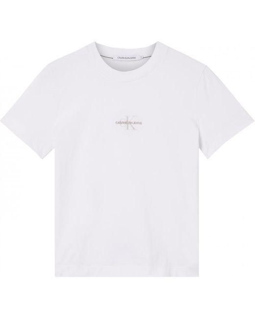 Camiseta Monogram Logo Calvin Klein de color White
