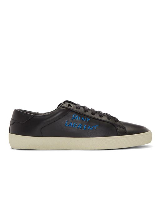 Saint Laurent Black Court Classic Leather Sneakers
