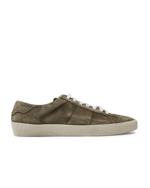 Saint Laurent Green Court Classic Suede Sneakers for men