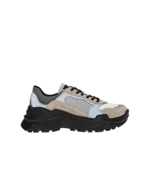 Balmain Gray Jace Technical Suede Sneakers for men