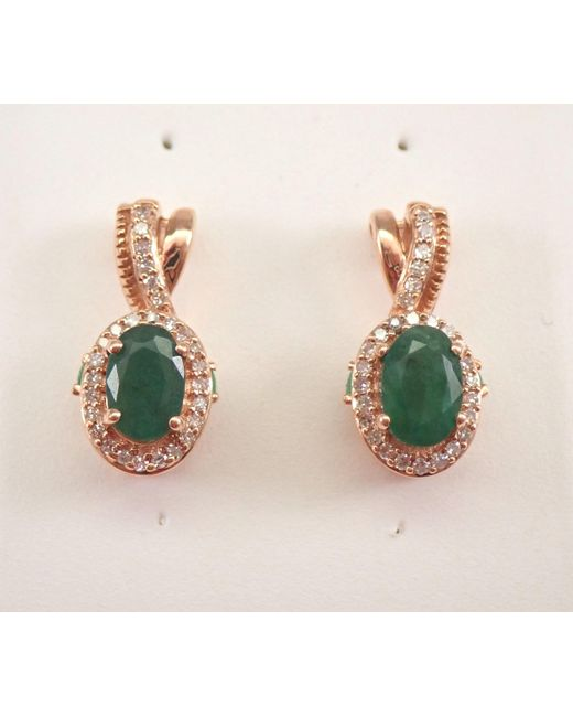 Etsy Green Rose Gold Diamond & Emerald Halo Drop Earrings May Birthday Free Shipping