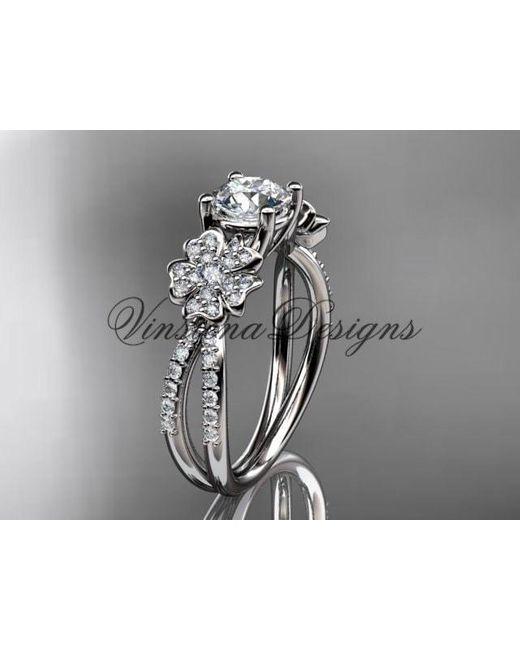 Etsy Gray Lower Engagement Ring Platinum Diamond Cherry Blossom Sakura Moissanite Vd8214 for men