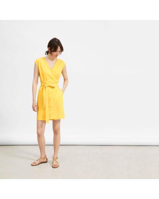 b2aadfdb8 Everlane - Yellow The Japanese Goweave Short-sleeve Mini Wrap Dress - Lyst  ...