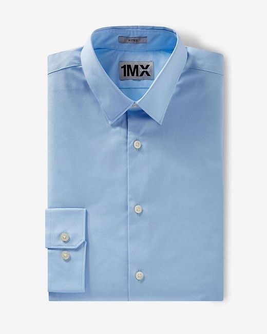 Express | Blue Fitted 1mx Shirt for Men | Lyst