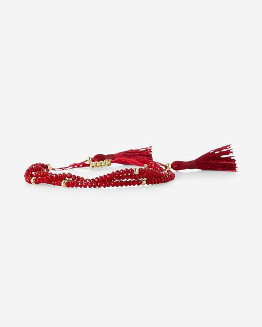 Express | Red Three Row Faceted Tassel Bracelet | Lyst