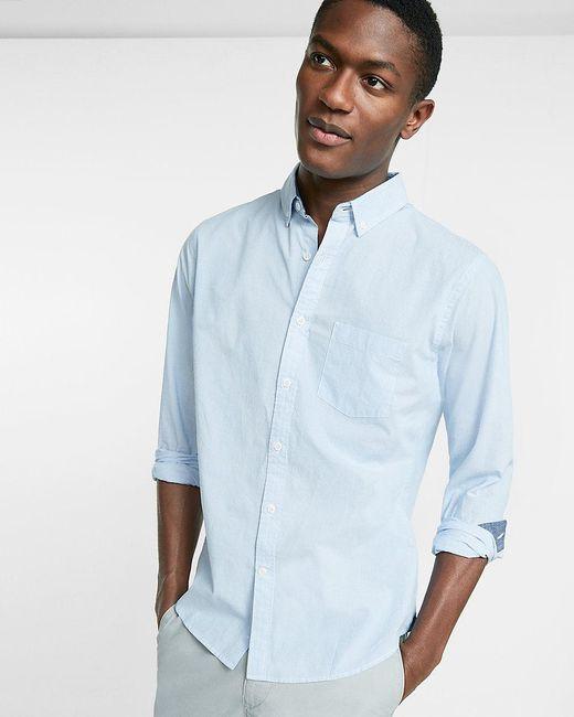 Lyst express soft wash pinstripe button collar cotton for Soft cotton dress shirts