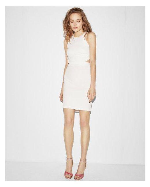 Express - White Cut-out Back Mini Sheath Dress - Lyst