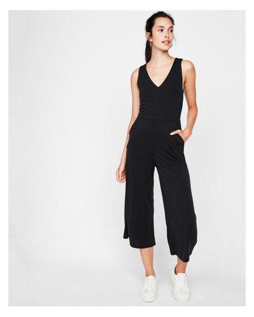 Express - Black Tie Back Culotte Jumpsuit - Lyst