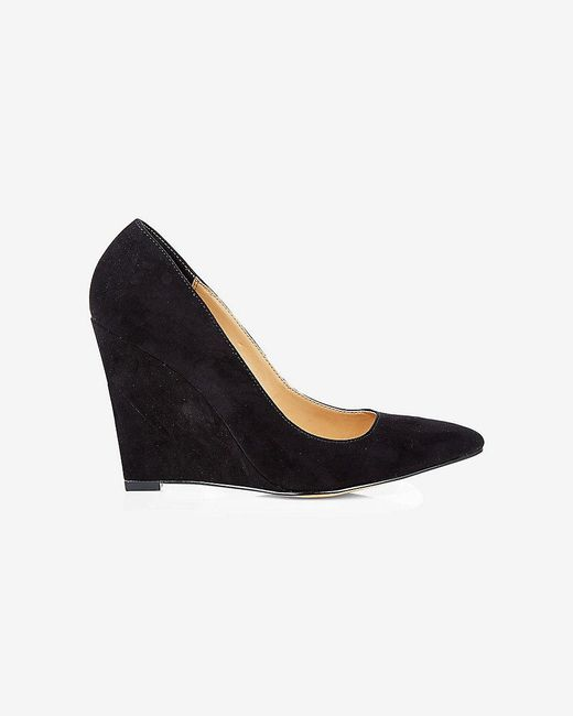 Express | Black Pointed Toe Wedge Pump | Lyst