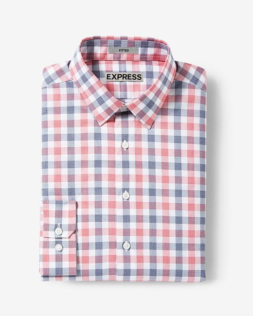 Express slim fit plaid cotton dress shirt in red for men for Red plaid dress shirt