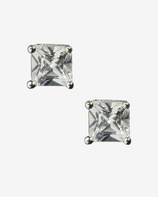 Express | Metallic Small Cubic Zirconia Stud Earrings | Lyst