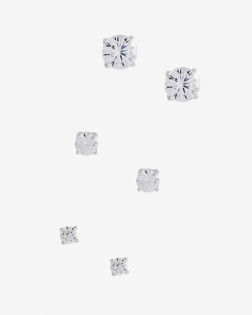 Express | Metallic Cubic Zirconia Round Stud Earring Trio | Lyst