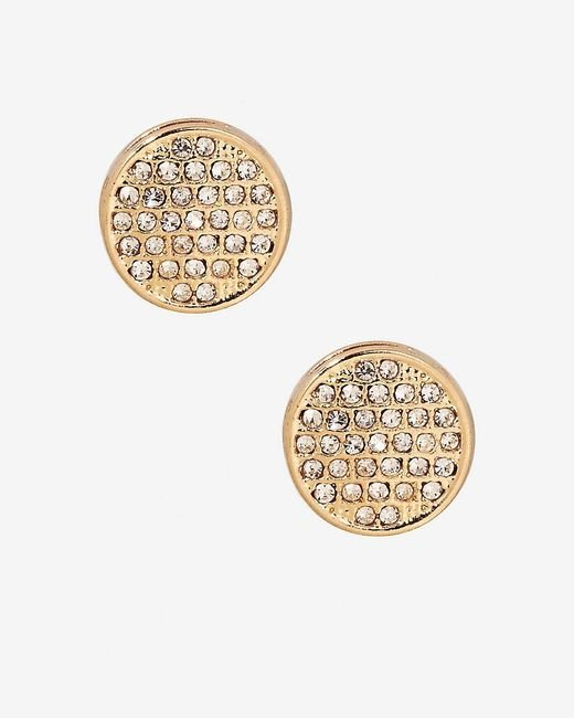 Express | Metallic Pave Circle Stud Earrings | Lyst