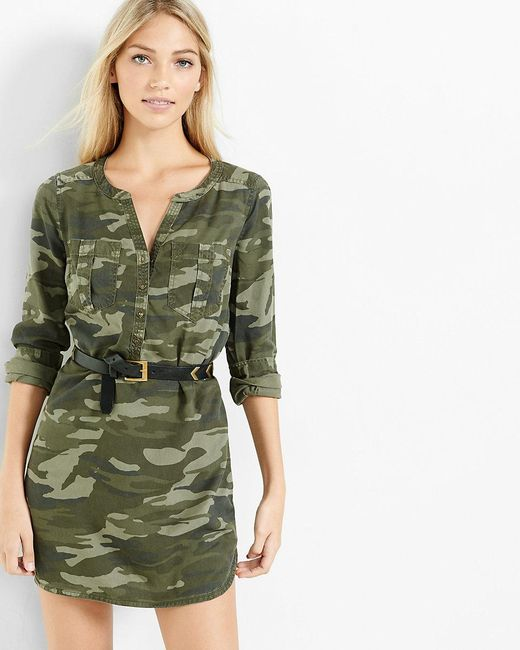 Express camouflage soft twill popover shirt dress in green for Green camo shirt outfit