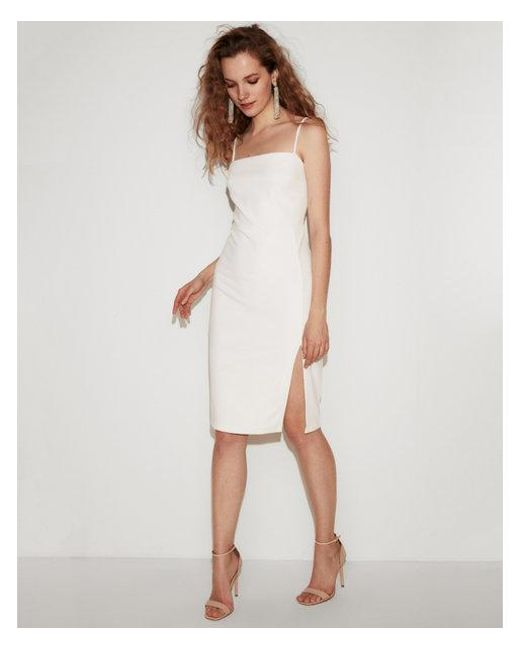 2fed1d187498 Lyst - Express Front Slit Dress in White