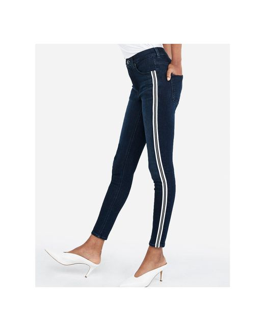 Express High Waisted Denim Perfect Metallic Side Stripe Ankle Leggings Blue