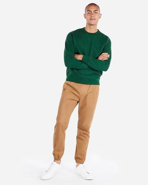 Express Solid Fleece Sweatshirt Green for men