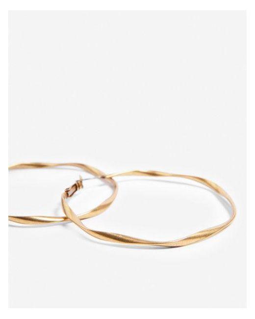 Express - Metallic Twisted Metal Hoop Earrings - Lyst