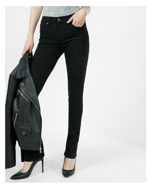 Express - Black Mid Rise Stretch Skyscraper Jeans, Women's Size:16 - Lyst
