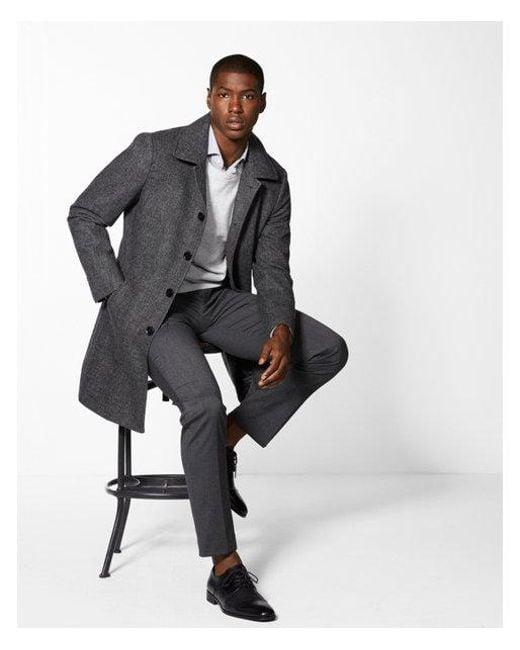 Express - Black Ig & Tall Wool Blend Topcoat for Men - Lyst