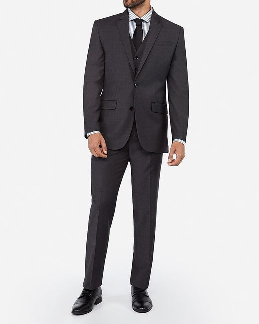 Express Classic Charcoal Wool Blend Wrinkle-resistant Performance Suit Jacket Gray 36 Short for men