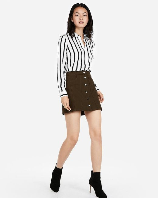 Express Snap Front A-line Mini Skirt Green