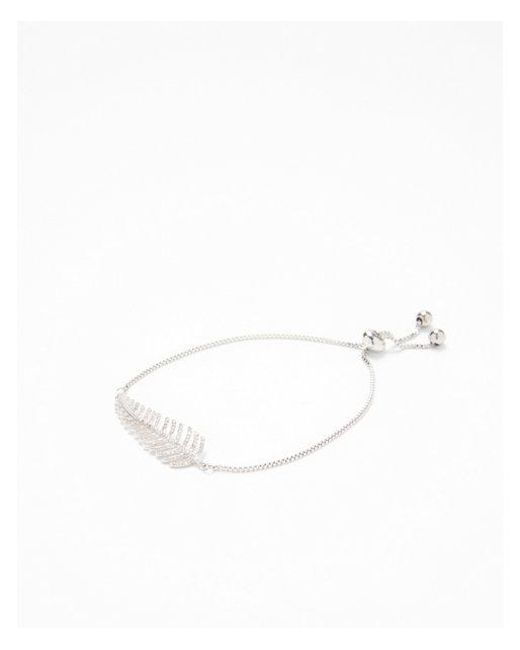Express | Metallic Cubic Zirconia Leaf Pull Chain Bracelet | Lyst