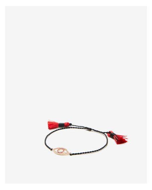 Express - Black Evil Eye Charm Tassel Bracelet - Lyst
