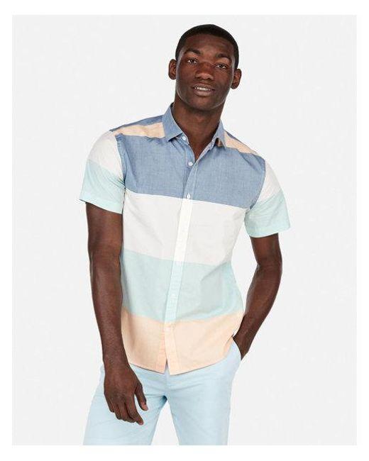 Express - Blue Slim Stripe Short Sleeve Shirt for Men - Lyst