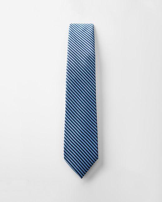 Express - Striped Narrow Silk Tie Blue for Men - Lyst