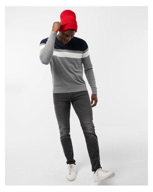 Express   Blue Color Block Stripe V-neck Sweater for Men   Lyst