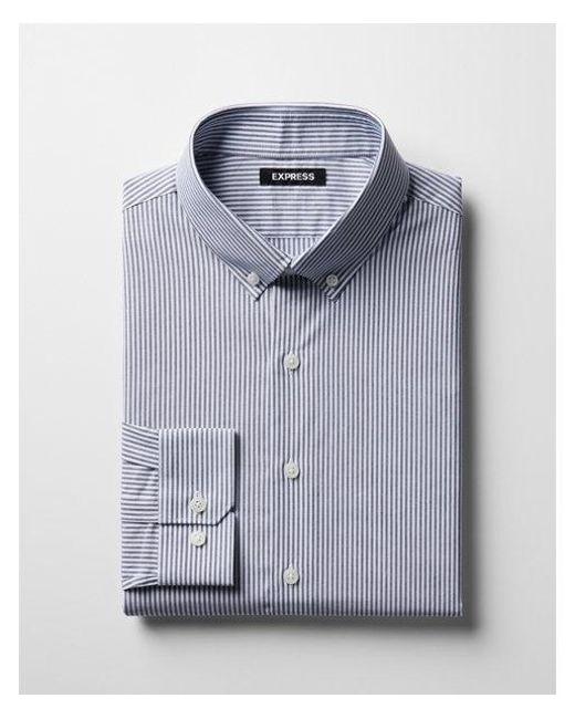 Express - Blue Slim Striped Button-collar Dress Shirt for Men - Lyst