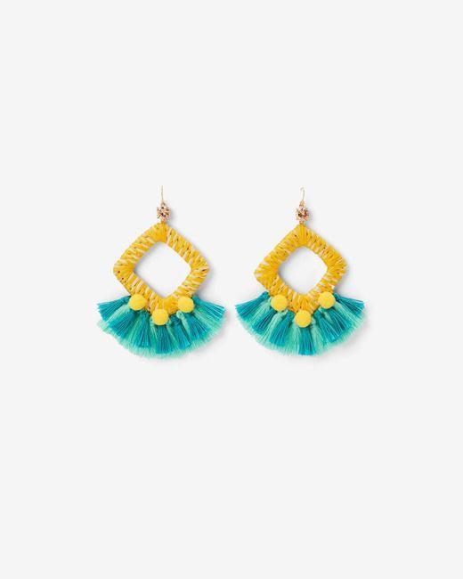 Express - Blue Wrapped Tassel Pom Earrings - Lyst