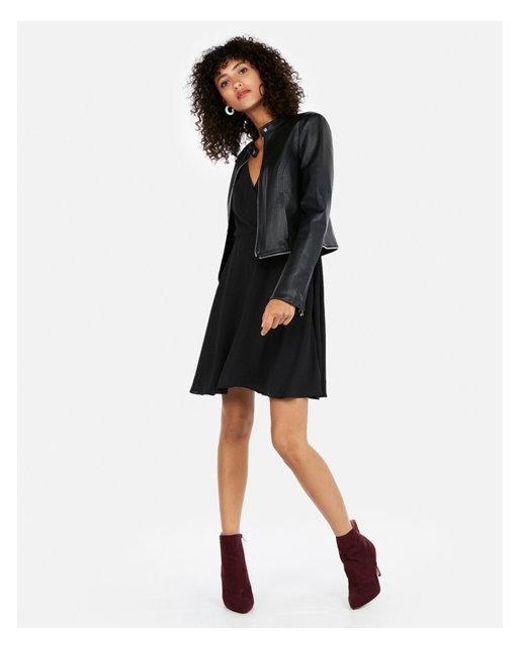 Express - Black Removable Zip Hem Faux Leather Jacket - Lyst