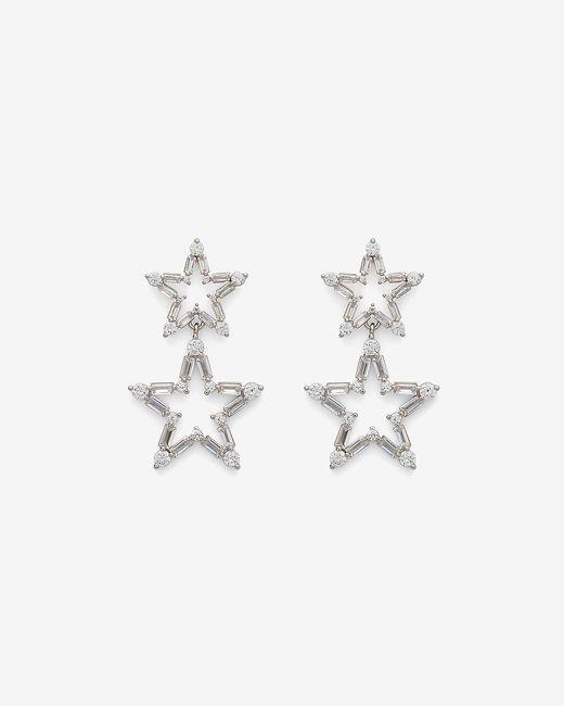 Express Metallic Double Star Baguette Drop Earrings Silver