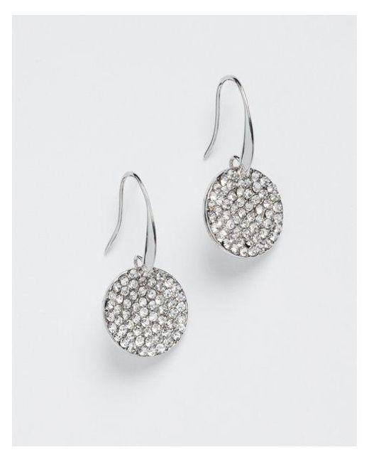 Express - Metallic Pav? Disc Drop Earrings - Lyst