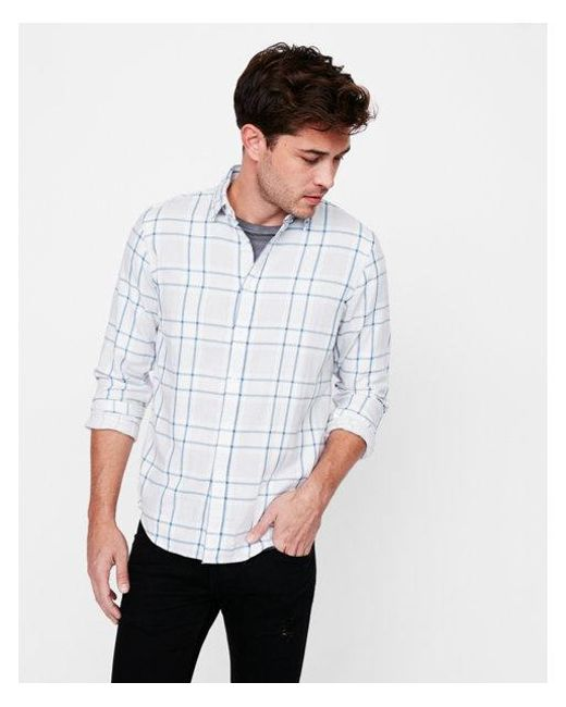 Express - Gray Slim Soft Wash Plaid Double Weave Button Down Shirt for Men - Lyst